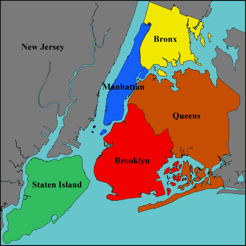 The 5 Boroughs Of New York Map